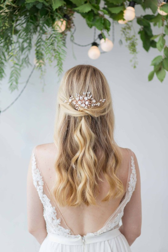 Orchis gold and pearl floral wedding hair comb