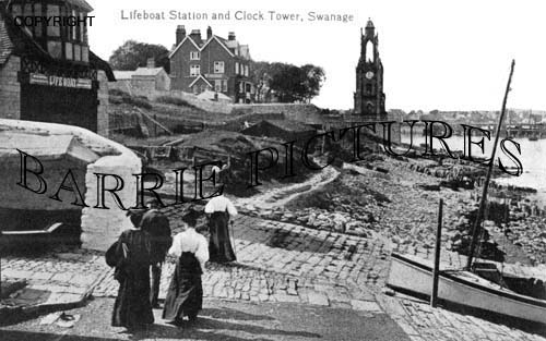 Swanage, Lifeboat Station and Clock Tower c1900