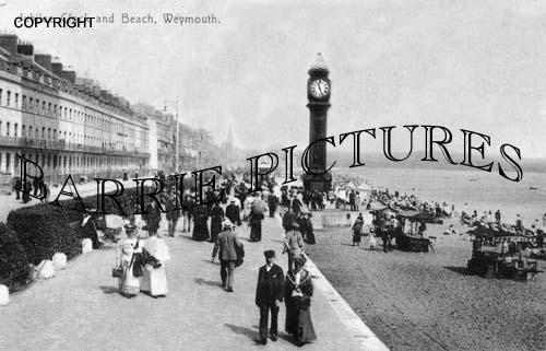Weymouth, Jubilee Clock and Beach c1905