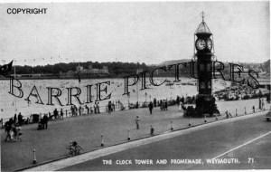 Weymouth, Clock Tower and Promenade c1955