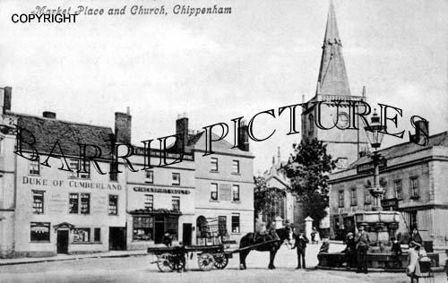 Chippenham, Market Place and Church c1900
