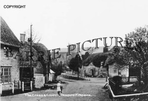Okeford Fitzpaine, The Cross and Church c1910