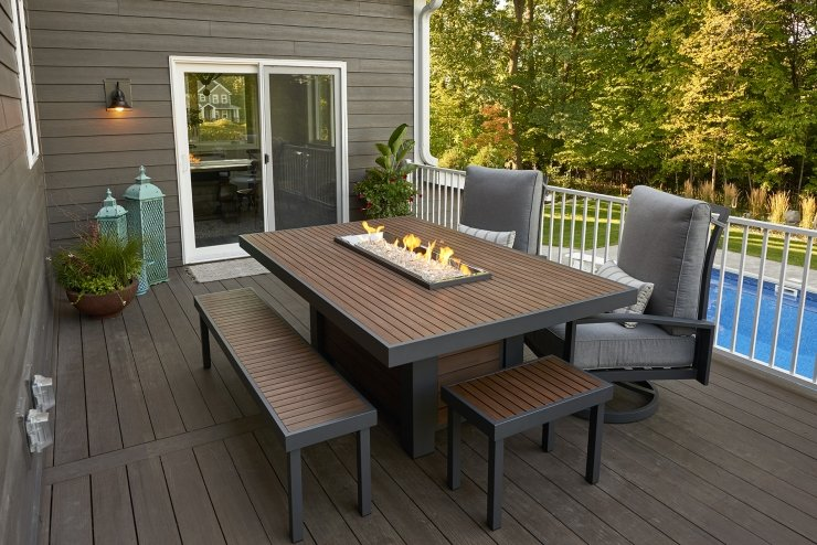Kenwood Linear Dining Firetable on Outdoor Dining Tables With Fire Pit id=78558