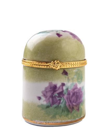 Porcelain Roses Stamp Box Postage Stamp Dispenser