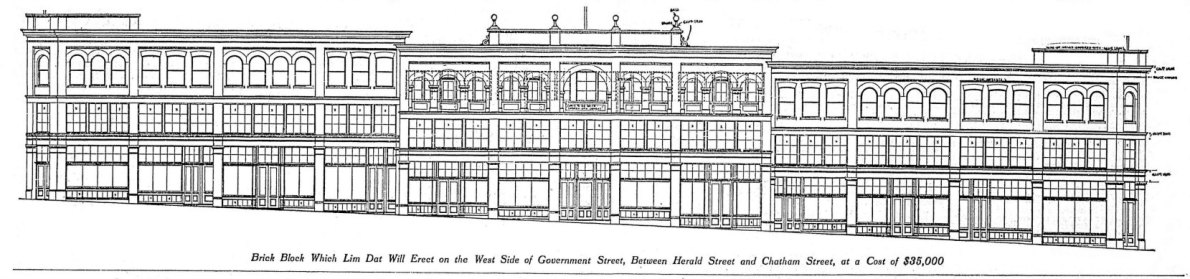 1909 architectural drawing of the Lim Dat Building, 1802-1826 Government Street