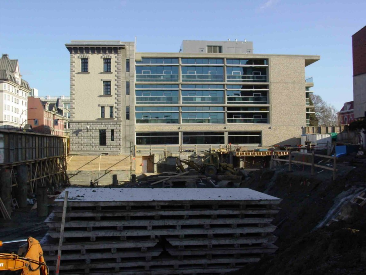 Former Victoria Police headquarters, 625 Fisgard Street, during construction of the C.R.D. building in 2005.