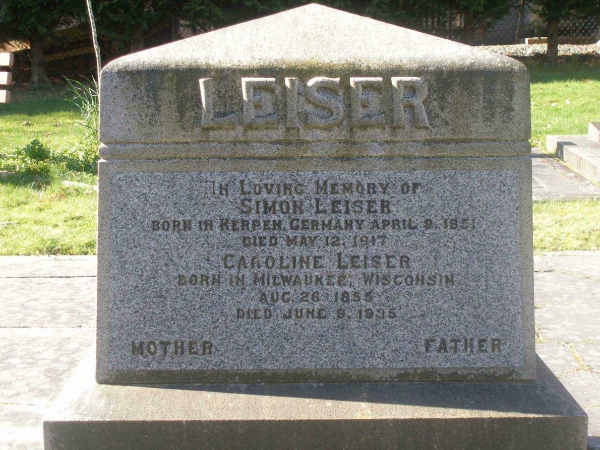 Simon and Caroline Leiser grave, Victoria Jewish Cemetery. Victoria, B.C.