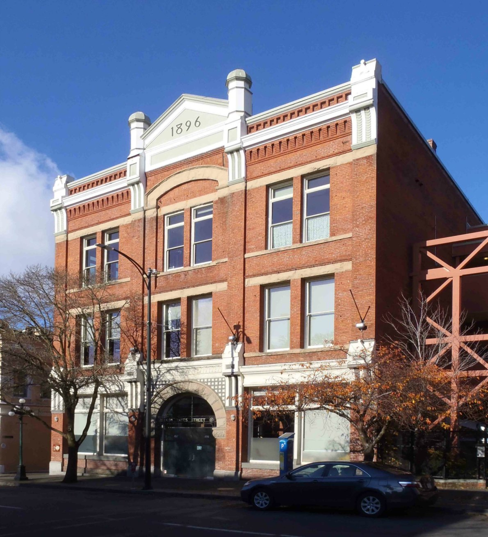Leiser Building, 524 Yates Street. Built in 1896 as a warehouse for Simon Leiser. Architect: A.C. Ewart.