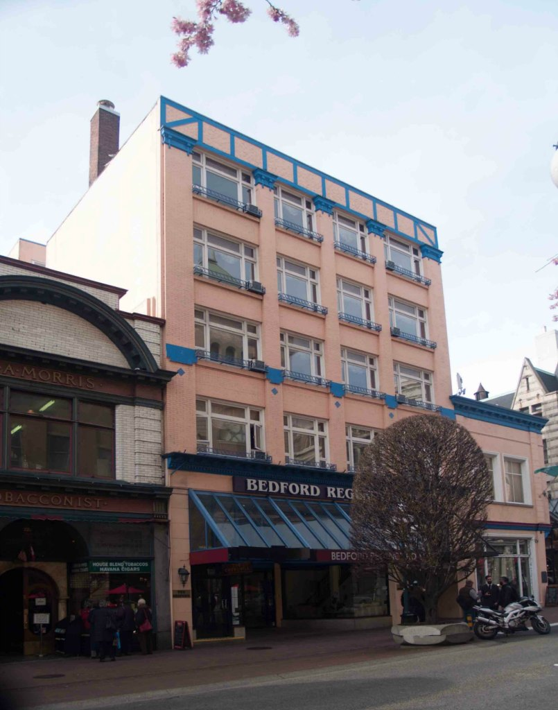 The Bedford Regency Hotel, 1140 Government Street, is in a building that was originally built by architect Thomas Hooper in 1910 for Hibben-Bone Stationers