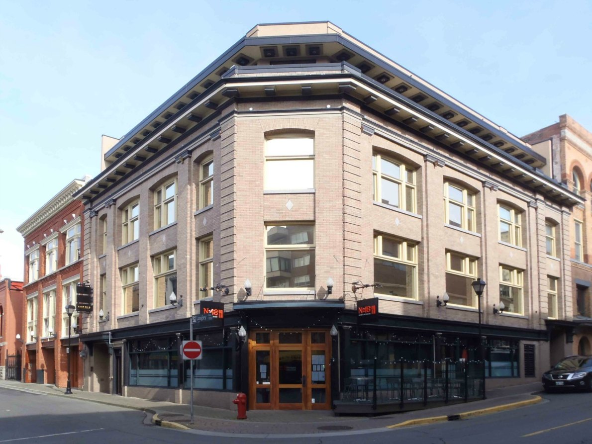 This building at the corner of Broughton Street and Langley Street was designed in 1909 by architect Francis Rattenbury as offices for the B.C. Land & Investment Company.