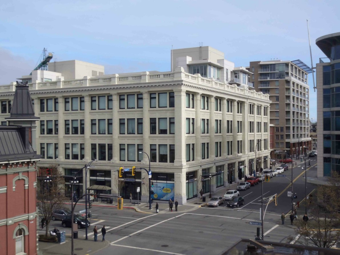 1701 Douglas Street, now the Hudson and the Victoria Public Market. Originally opened in 1922 as the Hudson's Bay Company department store. (photo by Victoria Online Sightseeing Tours)