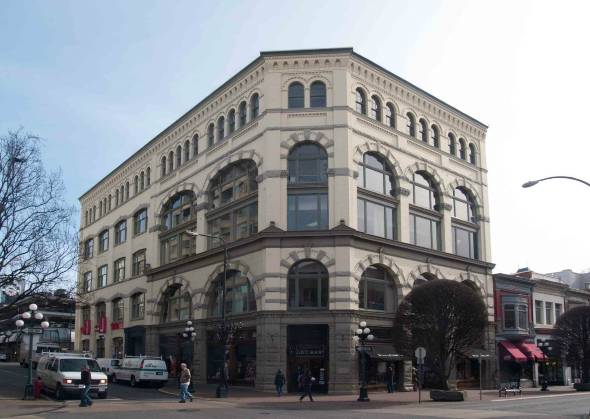 The Weiler Building, 921 Government Street / 609 Broughton Street, built in 1899 (photo by Victoria Online Sightseeing Tours)