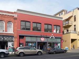 582-586 Johnson Street, built in 1908 for the Vancouver & Prince Rupert Meat Company.