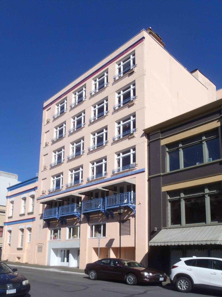 The Langley Street facade of the Bedford Regency Hotel, 1130-1140 Douglas Street