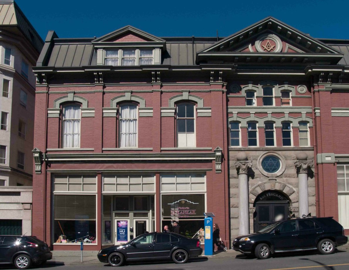 This section of the Victoria Masonic Temple, 650 Fisgard Street, was added in 1909.