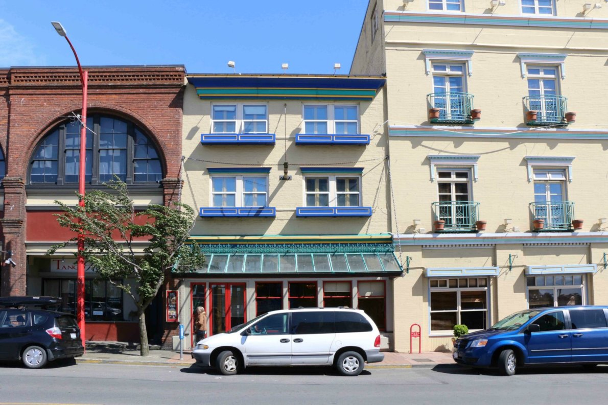 1615 Store Street, built in 1913 by architect Milo S. Farwell as a warehouse for Scott & Peden, which also built the adjacent building, now Swan's Hotel & Brewpub, at 506 Pandora Avenue.