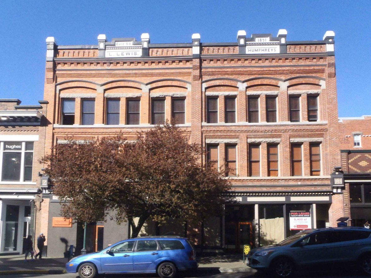 566-570 Yates Street, built in 1891 by architect Thomas Hooper for Lewis Lewis.