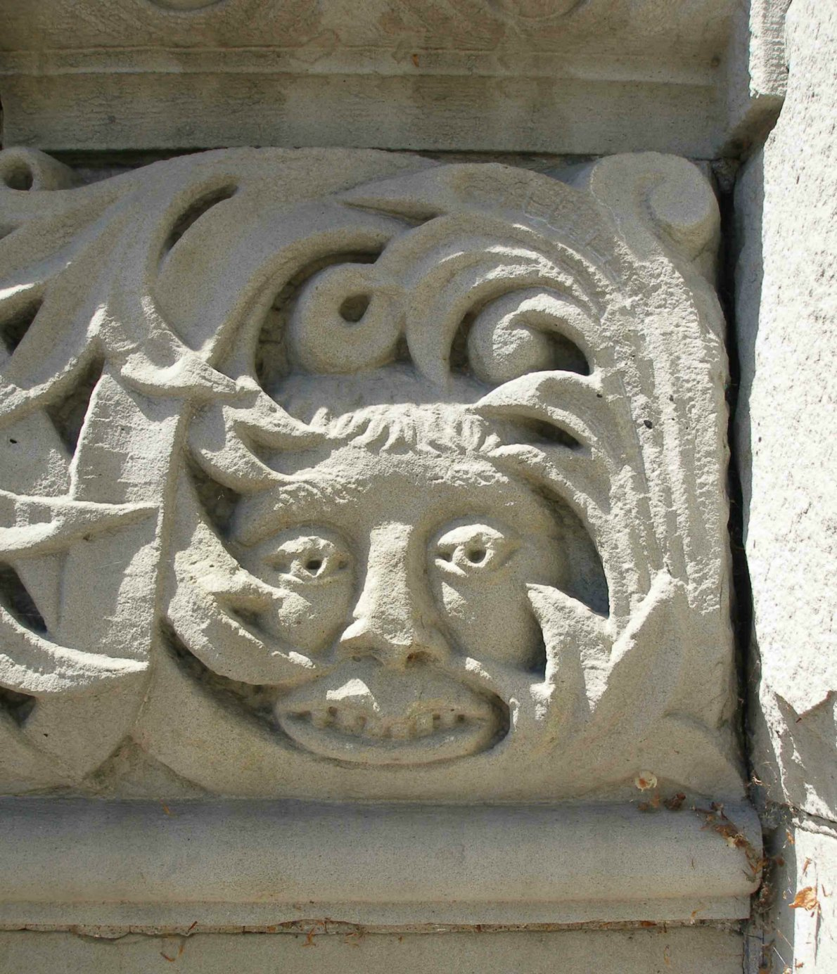 Exterior decorative detail on the stair railing of the Yates Street entrance of the former Carnegie Library, 794 Yates Street.