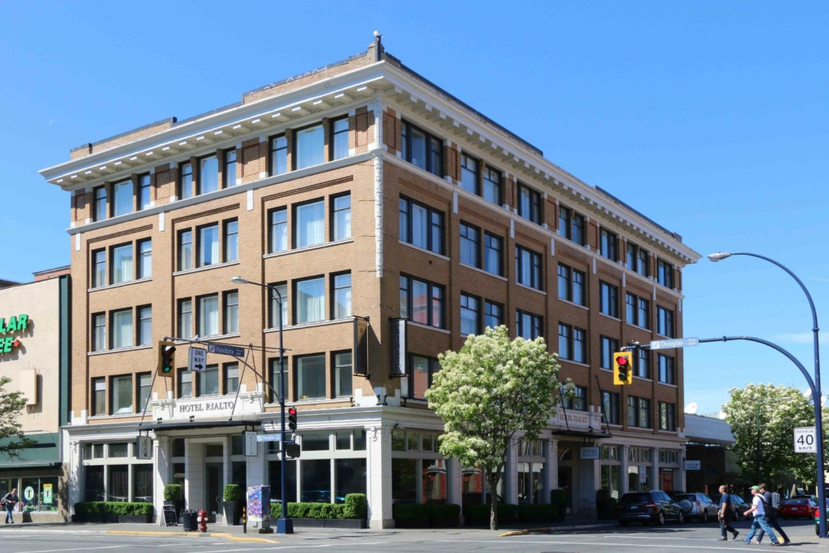 The Hotel Rialto, 1450 Douglas Street. Originally built at the Prince George Hotel in 1911, it became the Hotel Douglas from 1920 to 2007, when the present owners renovated it as the Hotel Rialto.