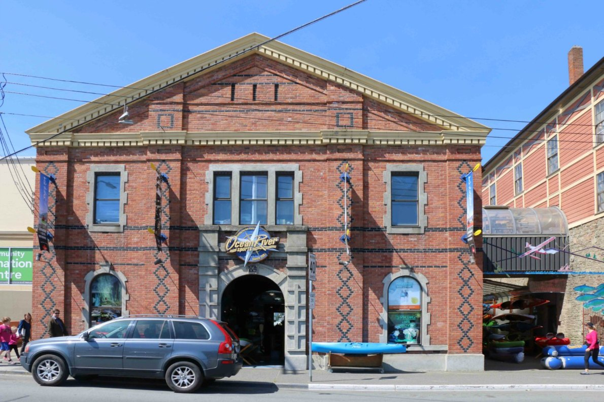 Ocean River Sports, 1824 Store Street. This building was originally built in 1890 for the Victoria Rice and Flouring Mill. (photo by Victoria Online Sightseeing Tours)