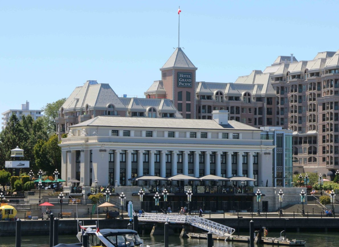 The Steamship Terminal, 396-470 Belleville Street, built in 1924 by architects Francis Rattenbury and Percy Leonard James.