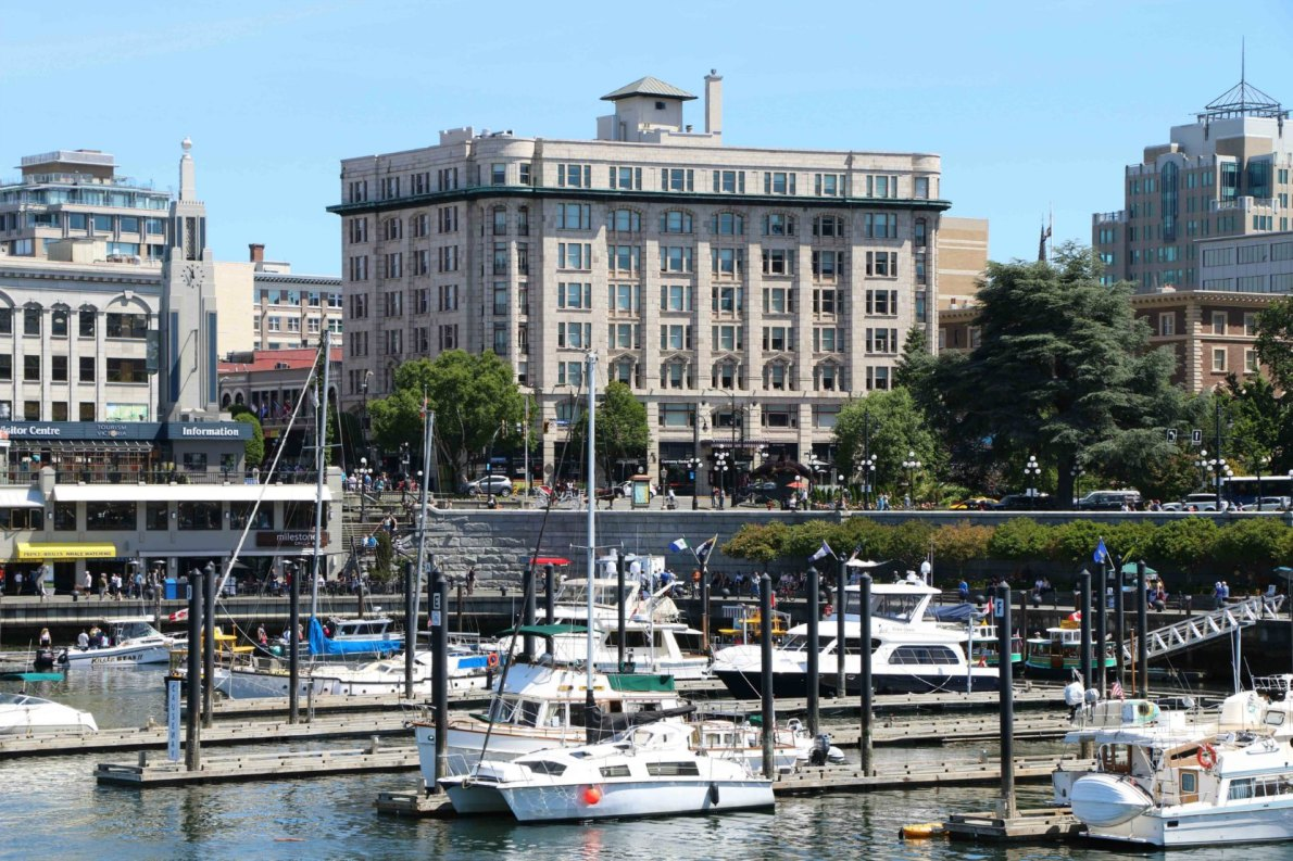 The Belmont Building and the Causeway, seen from the Steamship Terminal on Belleville Street (photo by Victoria Online Sightseeing Tours)