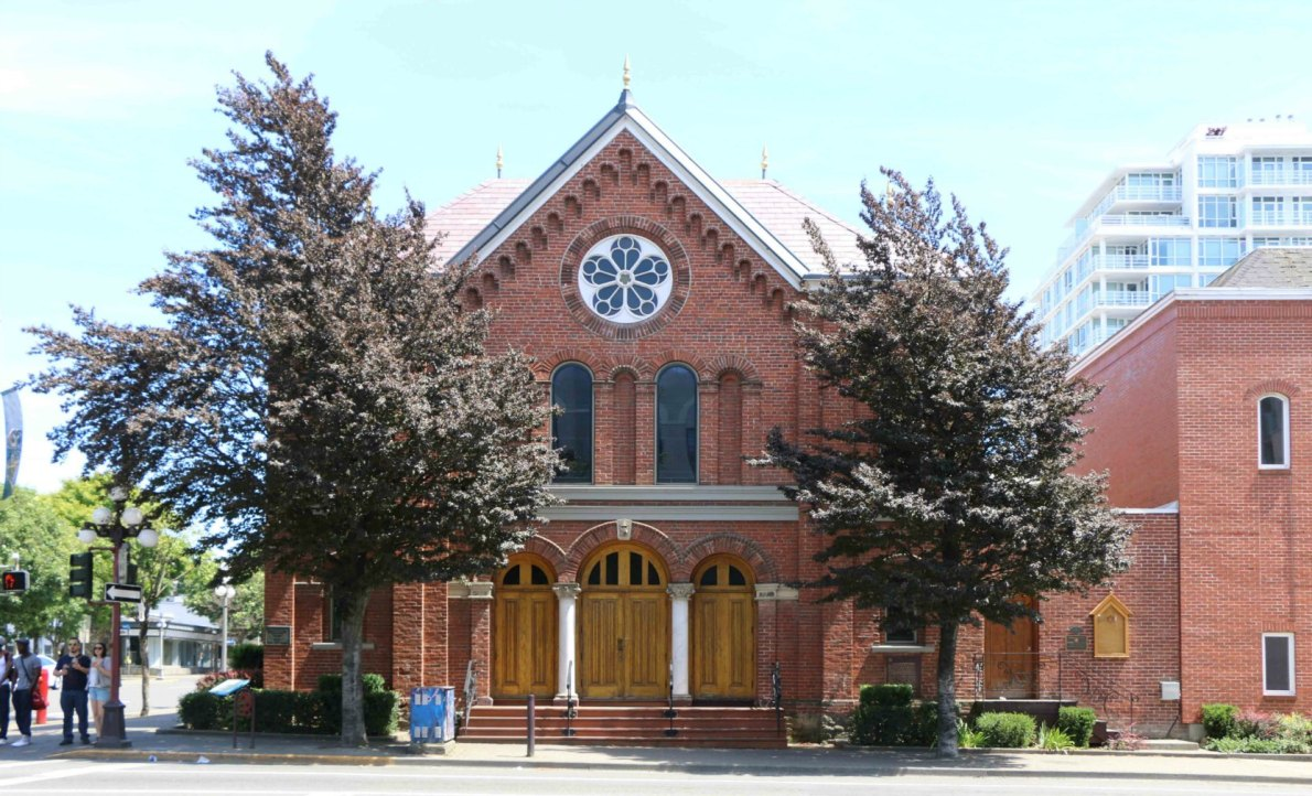 The Congregation Emanu-el, 1461 Blanshard Street. Dedicated in 1863, it is the oldest synagogue in western Canada (photo by Victoria Online Sightseeing Tours)