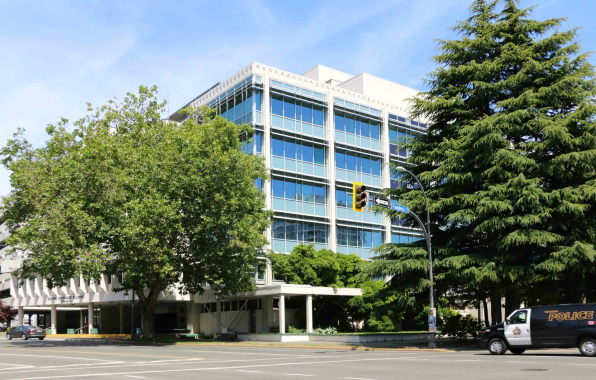 1515 Blanshard Street, built in 1954-1955 for the B.C. Electric Company. Listed on the Canadian Register of Historic Places.