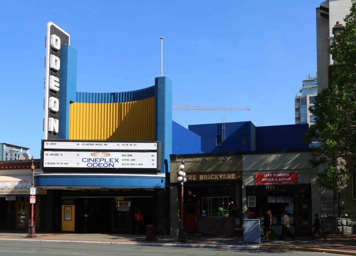 Odeon Theatre, 780 Yates Street, Victoria. Built in 1948.