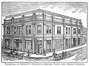 The original 1880's building at what is now 631 Yates Street, on the southeast corner of Yates Street and Broad Street (Victoria Online Sightseeing Tours collection)