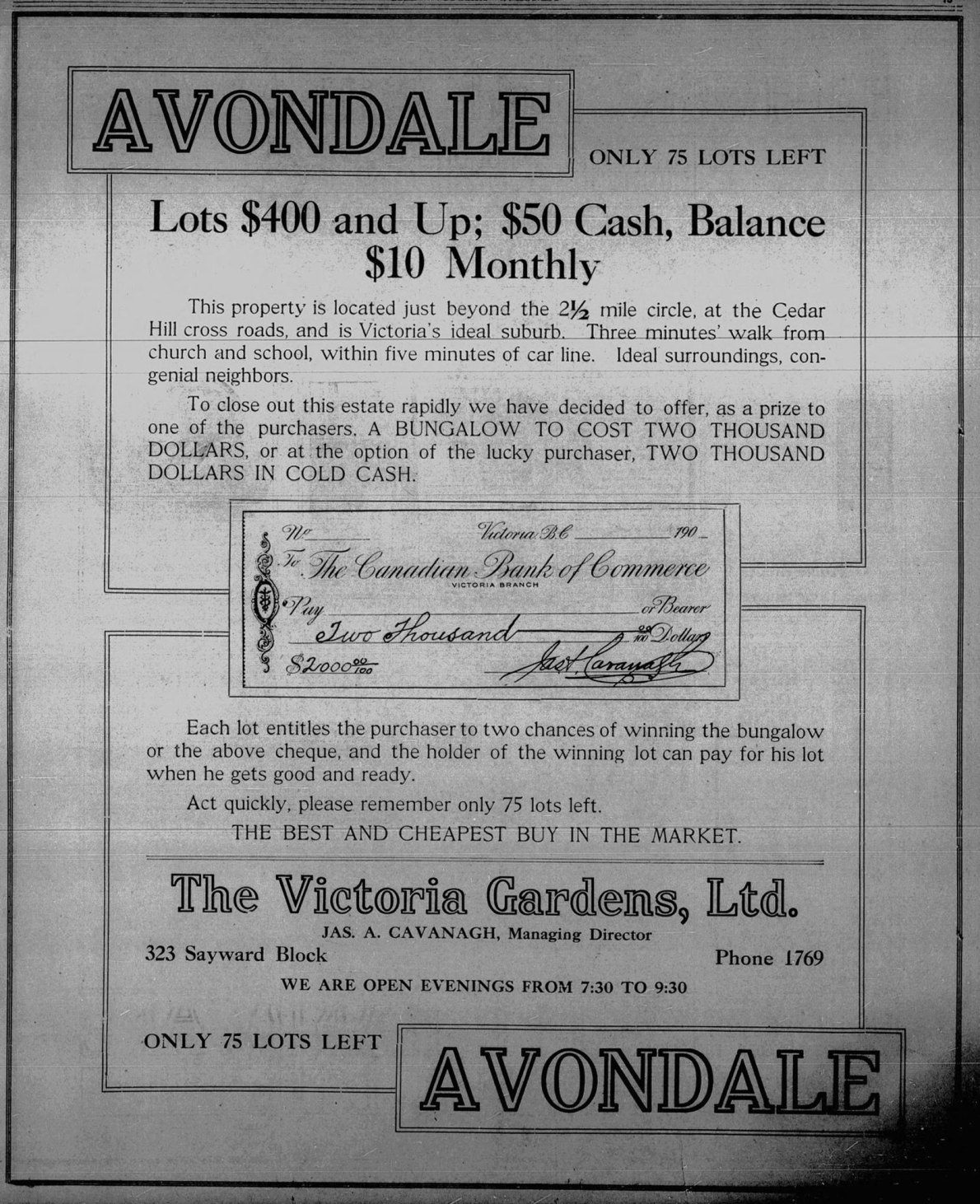 1912 advertisement for the then newly developed Avondale subdivision, off what is now Henderson Road in Oak Bay.