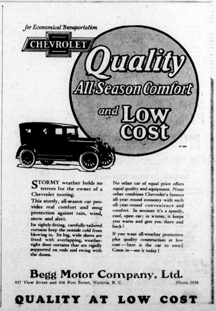 1926 advertisement for Chevrolet automobiles, placed by Begg Motor Company, 937 View Street. This advertisement was placed in the spring of 1926, before Begg Motor Co. opened its new building at 1250 Quadra Street. (Victoria Online Sightseeing Tours collection)