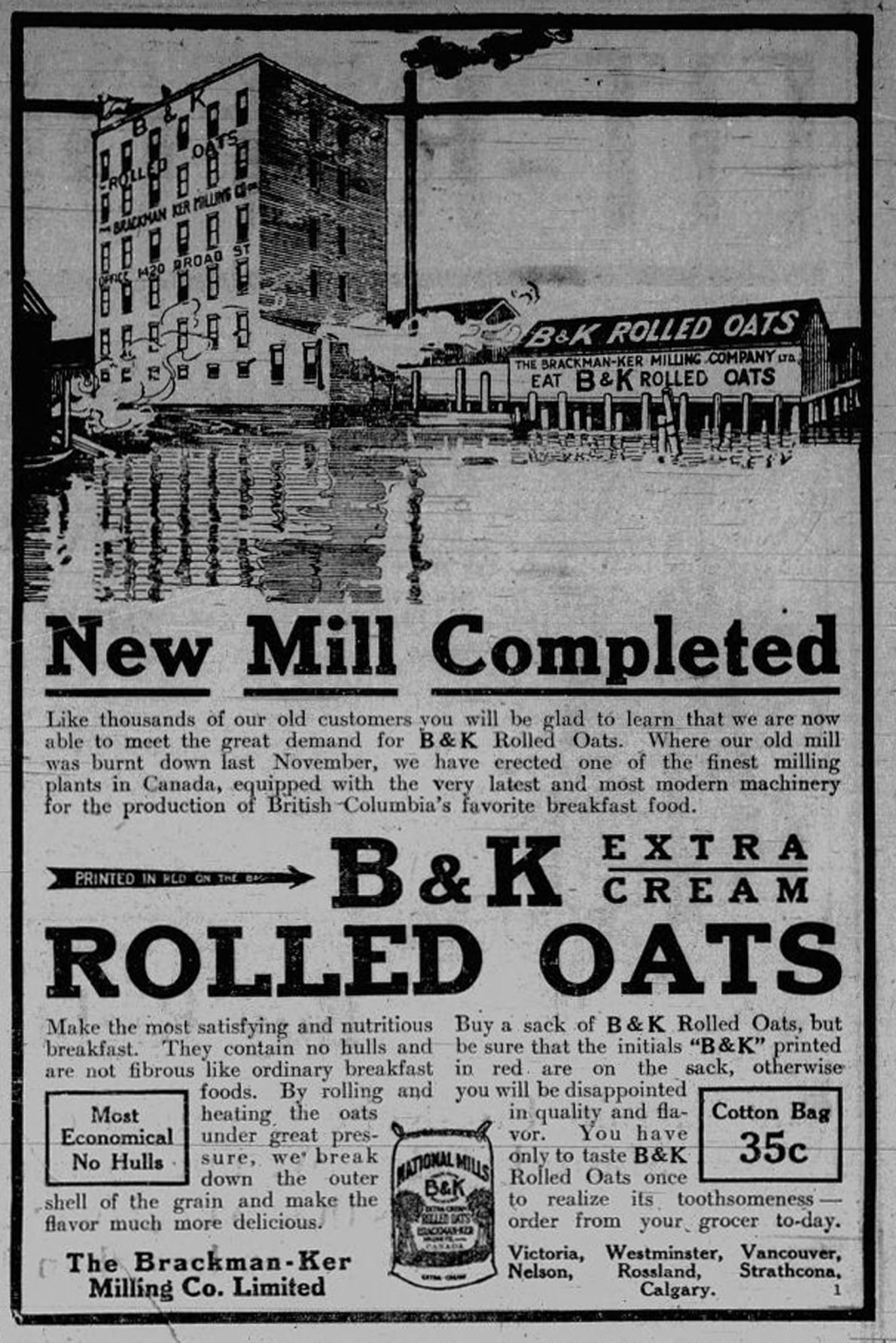 1910 advertisement for B&K Rolled Oats, made by the Brackman-Ker Milling Co., whose head office was at 1420 Broad Street in downtown Victoria. (Victoria Online Sightseeing Tours collection)
