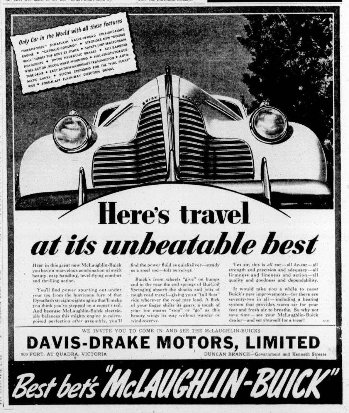1939 advertisement for Buick placed by Davis-Drake Motors, 900 Fort Street. The building at 900 Fort Street is no longer standing. (Victoria Online Sightseeing Tours collection)