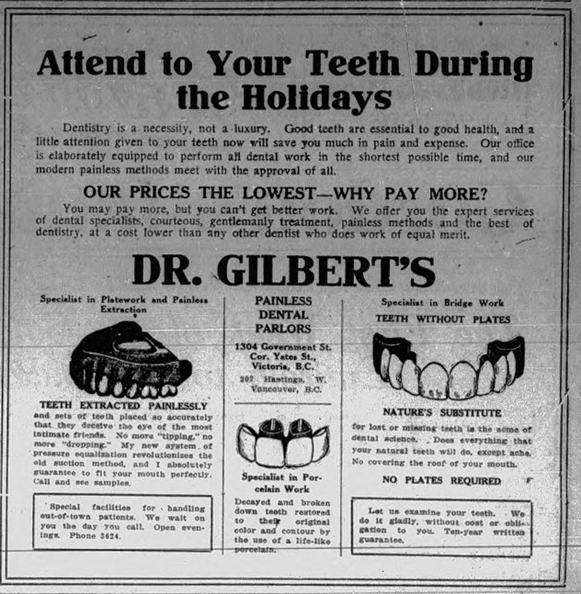 1915 Advertisement For Dr. Gilbert's Painless Dental Parlors, 1304 Douglas Street (Victoria Online Sightseeing Tours collection)