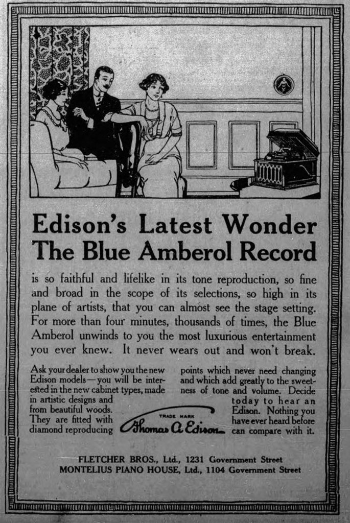1913 advertisement for Edison Blue Amberol Records, sold by Montelius Piano House, 1102 Government Street, and Fletcher Brothers, 1231 Government Street (Victoria Online Sightseeing Tours collection)
