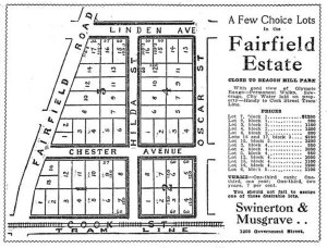 1909 advertisement for the then newly subdivided are bordered by Fairfiled Road, Cook Street, Oscar Street and Linden Avenue (Victoria Online Sightseeing Tours collection)