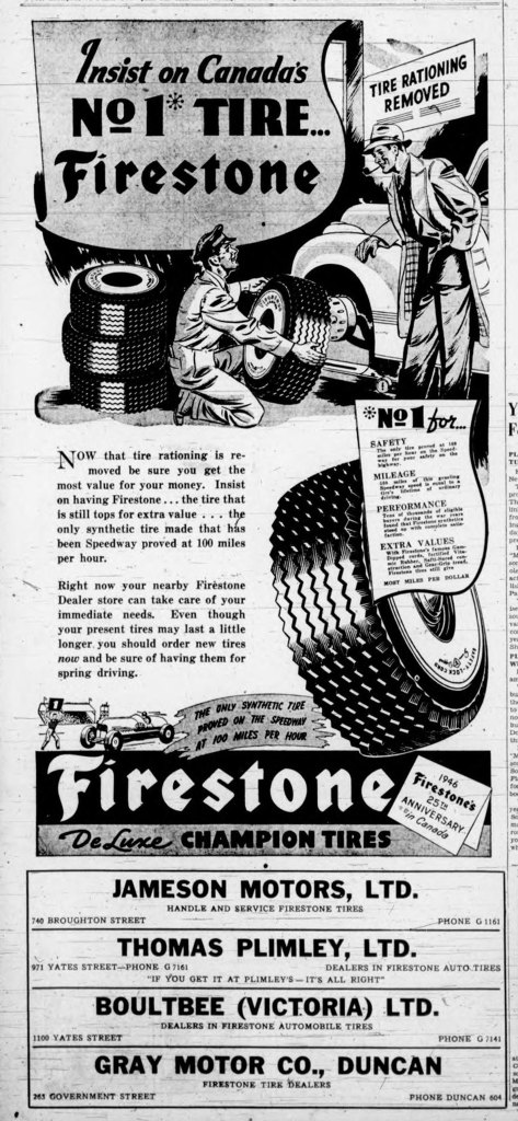 """1946 Victoria advertisement for Firestone Tires. Note the """"Tire Rationing Removed"""" in the upper right corner. Tires had been rationed during World War II (1939-1945)"""