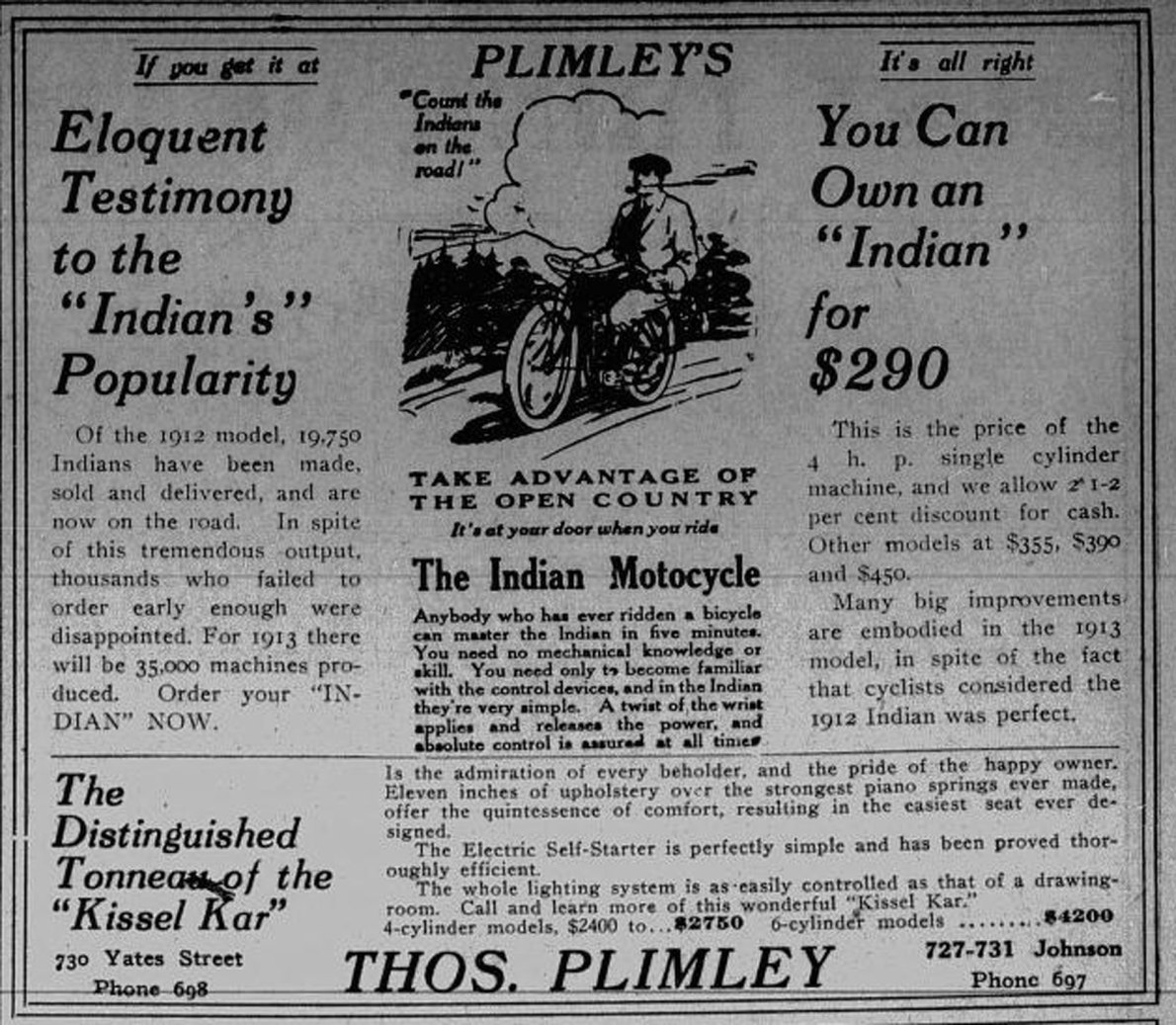 1913 advertisement for Indian motorcycles, sold by Thomas Plimely Ltd., 727-731 Johnson Street and 730 Yates Street. (Victoria Online Sightseeing Tours collection)