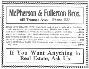 1909 advertisement for McPherson & Fullerton Bros., 618 Trounce Avenue (now Trounce Alley). Thomas Shanks McPherson was involved in building the Central Building and the McPherson Playhouse. (Victoria Online Sightseeing Tours collection)
