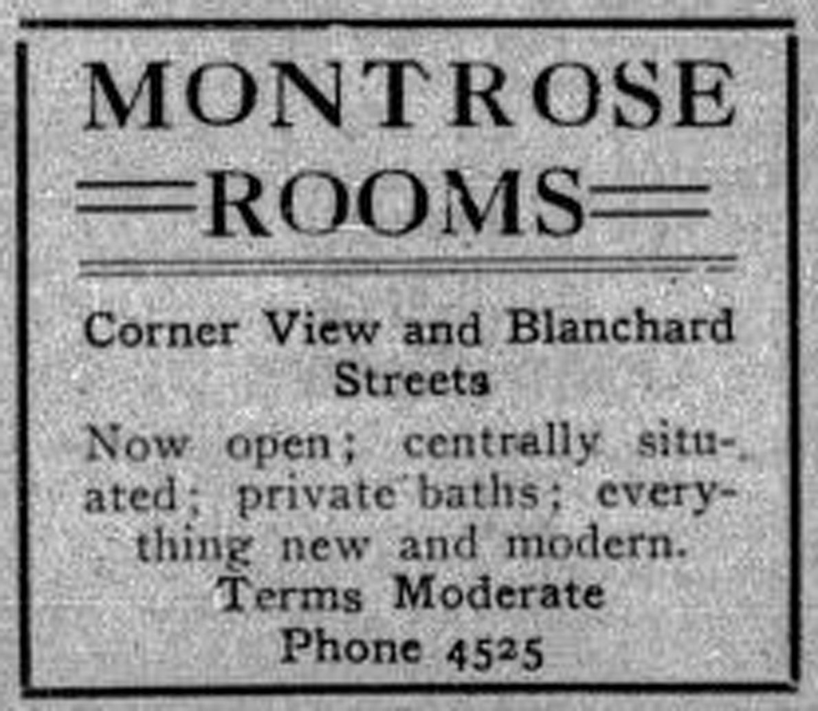 1913 advertisement for Montrose Rooms, corner View and Blanchard Streets. The Montrose Rooms, now known as the Montrose Apartments, is still standing at 1114-1126 Blanshard Street (Victoria Online Sightseeing Tours collection)