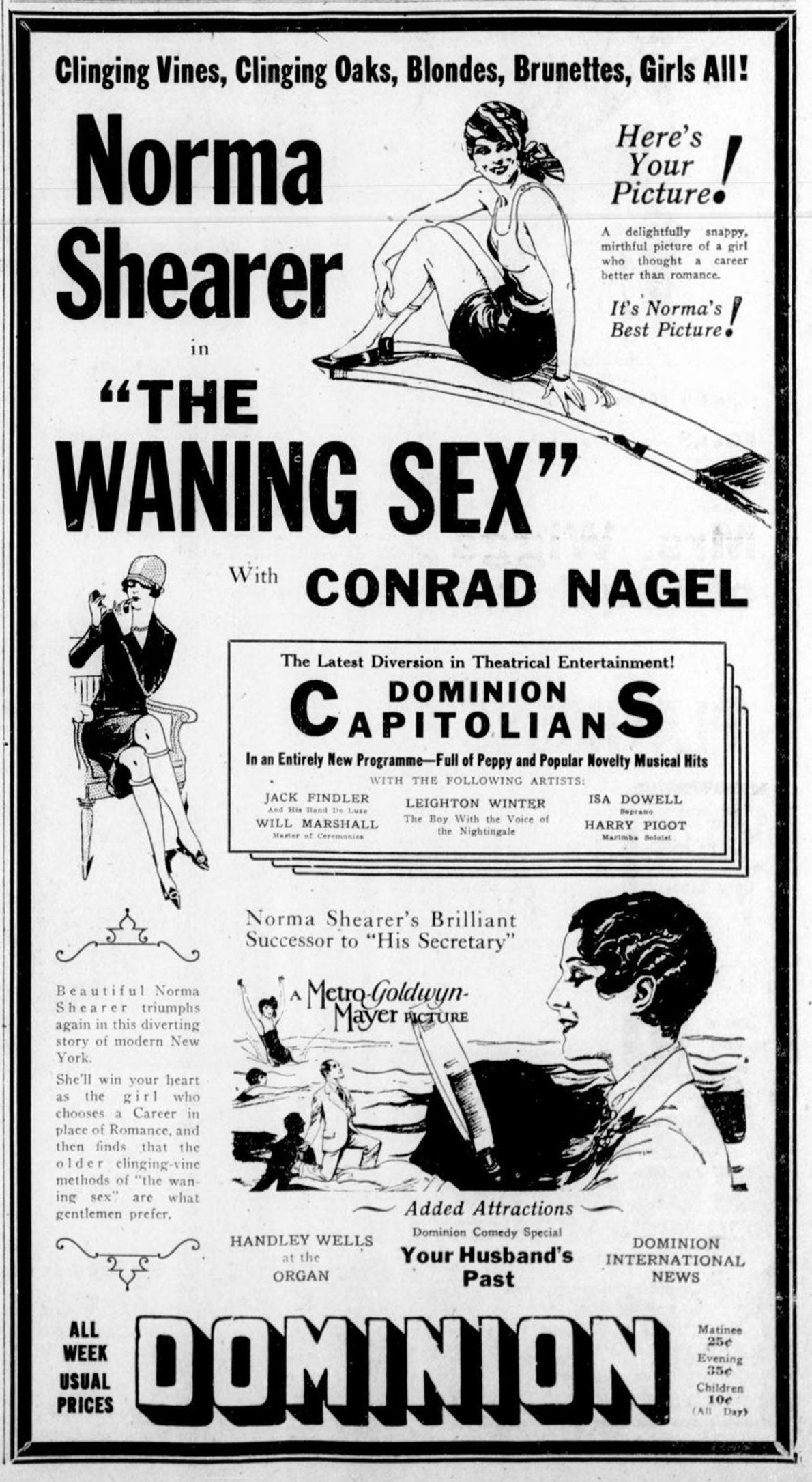 1926 advertisement for the Dominion Theatre, 816 Yates Street (now demolished). The feature is The Waning Sex, starring Norma Shearer. (Victoria Online Sightseeing Tours collection)