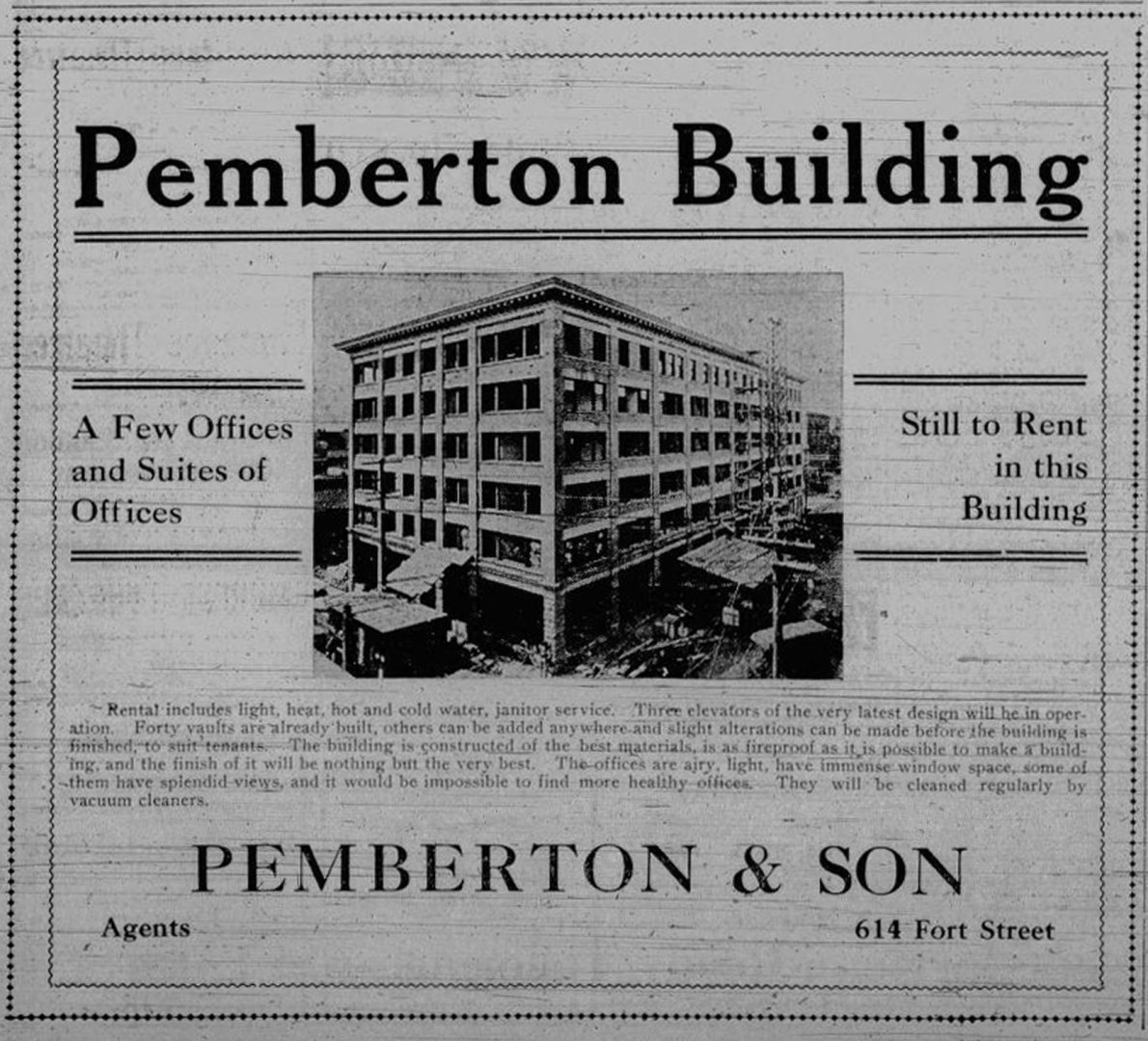 1910 advertisement showing the Pemberton Building (now the Yarrow Building) under construction. This view is looking northwest from the corner of Broad Street and Broughton Street (Victoria Online Sightseeing Tours collection)