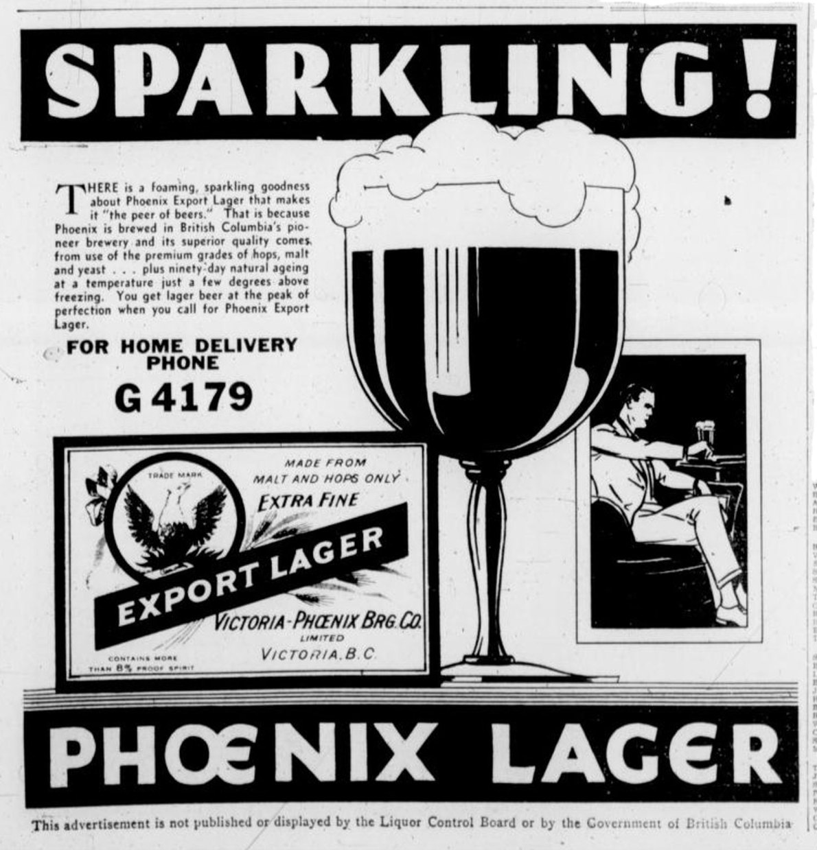 1939 advertisement for Phoenix Lager, brewed by the Victoria Phoenix brewing Company at 1921 Government Street (Victoria Online Sightseeing Tours collection)