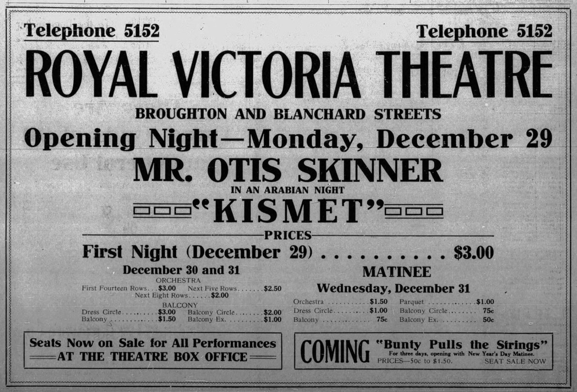 December 1913 advertisement for the opening night of the Royal Victoria Theatre (now the Royal Theatre), 29 December 1913 (Victoria Online Sightseeing Tours collection)