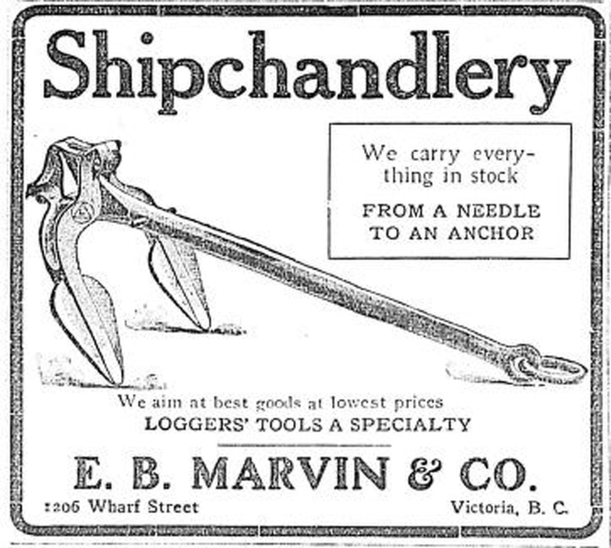 1909 advertisement for E.B. Marvin & Co., Ship Chandlers, 1206 Wharf Street. (Victoria Online Sightseeing Tours collection)