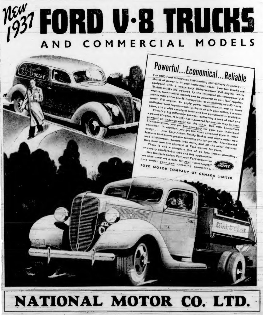 1937 advertisement for Ford V-8 trucks, sold at National Motor Co., which was at 819 Yates Street. (Victoria Online Sightseeing Tours collection)