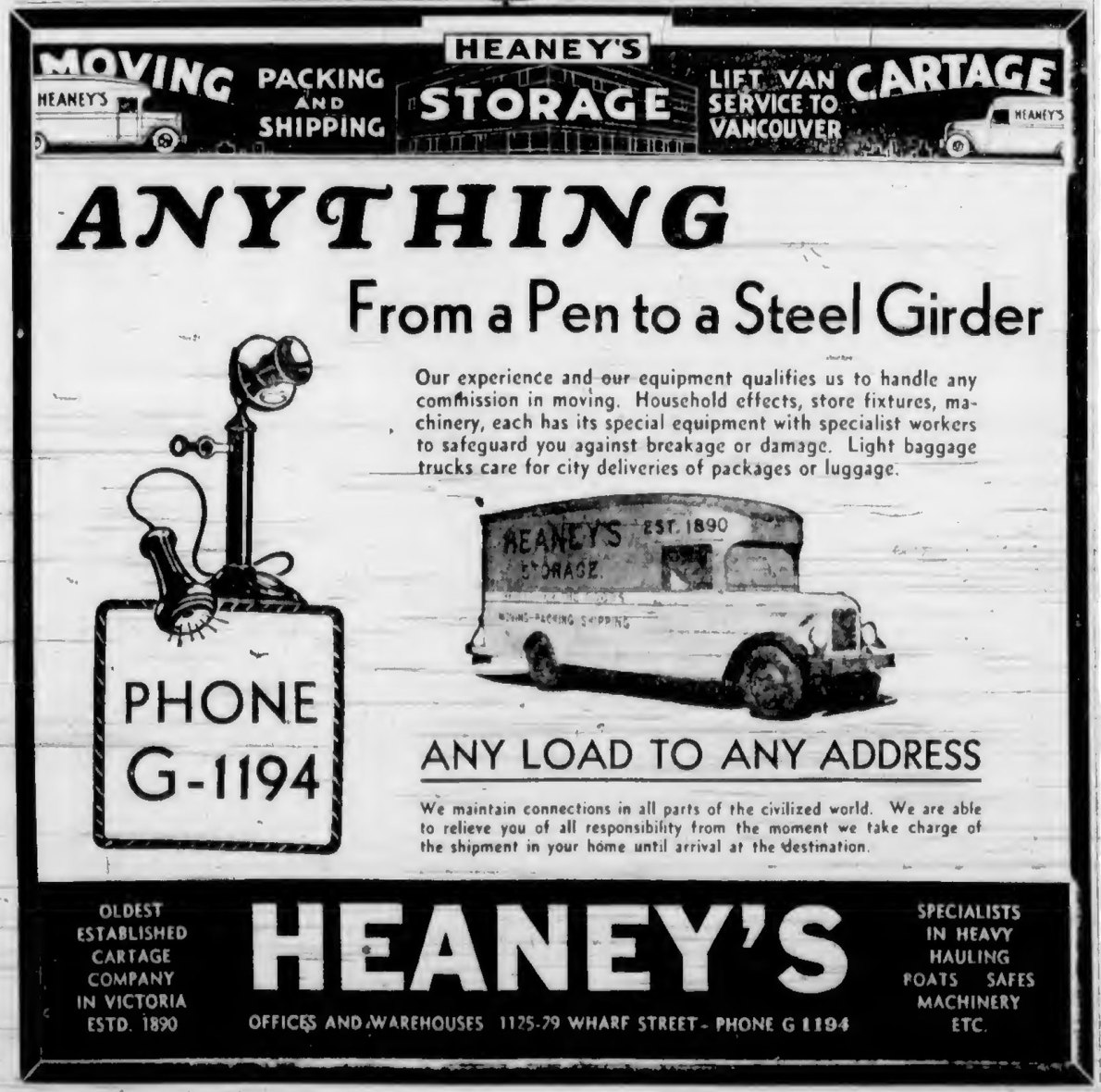 1937 advertisement for Heaney's, a moving company located at 1225-1229 Wharf Street (Victoria Online Sightseeing Tours collection)