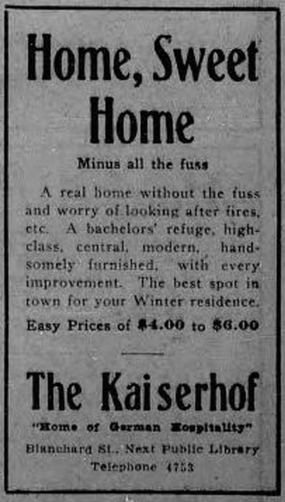 "1913 advertisement for The Kaiserhof, 1320-1322 Blanshard Street. Notice the ""bachelors' refuge"", indicating the market The Kaiserhof was trying to attract. (Victoria Online Sightseeing Tours collection)"