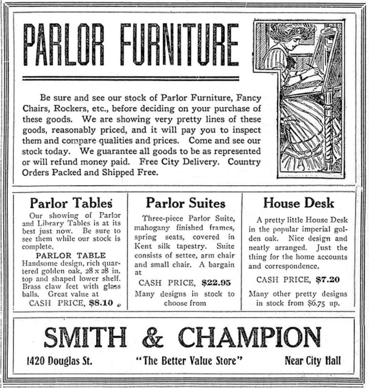 1910 Advertisement For Smith & Champion, 1420 Douglas Street
